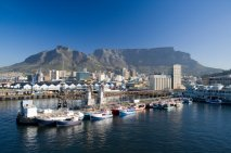 Cape Town South Africa waterfront and harbour with Table Mountain in the background.