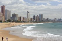 Hotels and beachfront, showing Addington Beach and the warm Indian Ocean in the foreground, Durban, South Africa
